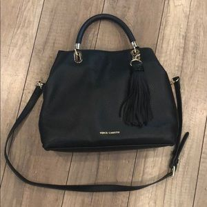 Vince Camuto Elva Black Leather Satchel
